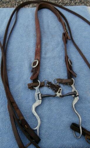 Cowboy Leather Bridle Stainless Steel Floating Port Bit 7 Ft. Split Reins