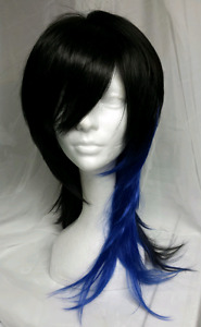 Black and blue synthetic Goth  wig
