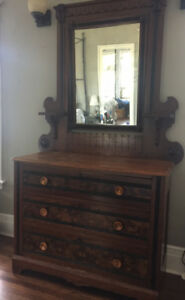 Antique Eastlake Dresser with Mirror