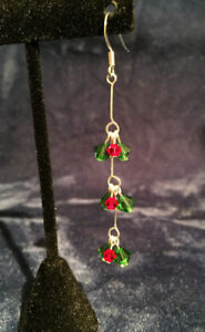 Handmade Christmas Earrings made with Crystal
