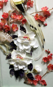 Chinese cut shell birds, flowers shadowbox signed art West Island Greater Montréal image 3