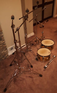 Cymbal stands, snare stand, Afro timbales, cymbal case (drum rel