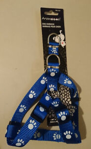 Dog Harness Blue with Paw Prints