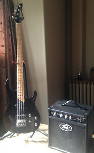 Washburn MB-4 Bass Guitar and Peavey Max 158 bass amp