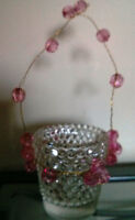 Glass Votives with pink glass handle $35.00 for the box full