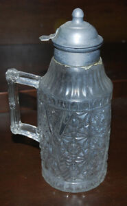 Pewter and Clear Glass Maple Syrup Jar