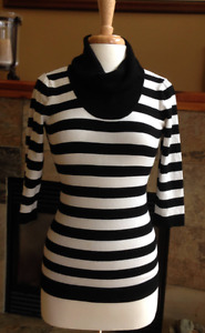 INC Womens Black and white 3/4 Sleeves Cowl Neck Pullover Sweate