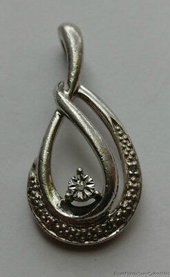 Estate Jewelry Four Real Diamonds Pendant Sterling Silver 1  Long
