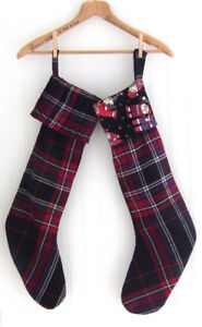 NEW 2 Handmade Wool Kilt Tartan Christmas Stockings