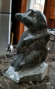 Inuit soapstone carving of a bear