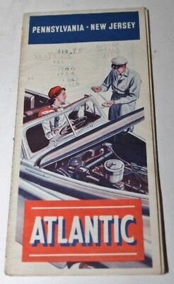1948 Atlantic Brand Pennsylvania New Jersey Vintage Road Map