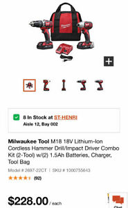 Milwaukee Tool M18 18V Lithium-Ion Cordless Hammer Drill/Impact