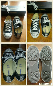 Black converse with jewel embellishments - size 10.5 womens
