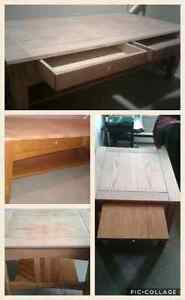 Solid oak living room tables set. Coffee table with one side ta
