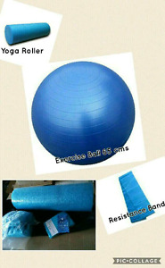 FITNESS AND STRETCHING SET - EXERCISE BALL,YOGA ROLLER, BAND