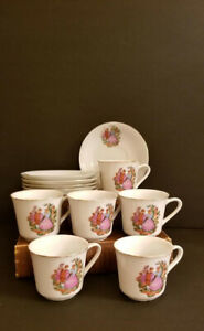 Vintage Fragonard Ceramic Mugs & Saucers set of 6