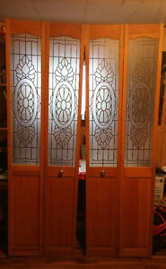 Wood Bi Fold Doors w/ Frosted Design Glass