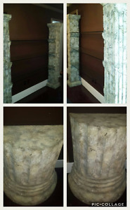 Beige Concrete Colums with 3 glass shelves