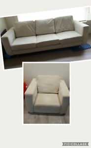 Microfiber couch and single chair
