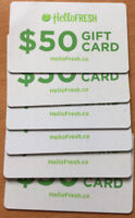 Hello Fresh gift card of 50$ value - 6 cards -each for 20$