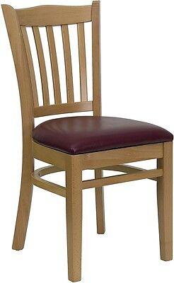 Natural Wood Finished Vertical Slat Back Restaurant Chair With Burgundy Vinyl
