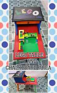 Lego Table and chalkboard area