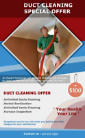 MEGA PROMOTION FOR DUCT CLEANING WITH UNLIMITED VENTS $100