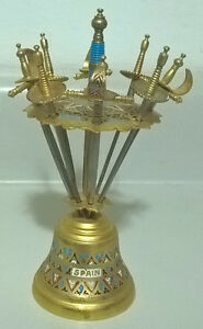 Vintage Toledo Swords Bar Cocktail Miniature Picks Stand 8 Sword
