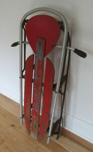 Vintage Snow Sled – Aluminum - with Steering - Orig Rustic Decor