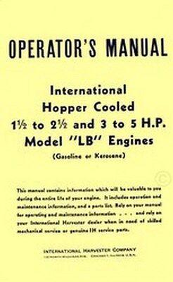 International Hopper Cooled 1 1.5 2 2.5 3 5 Hp Lb Engine Operators Manual