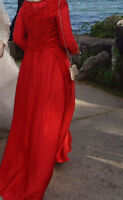 Stunning Red long sleeve special occasion dress