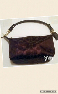 COACH BROWN SIGNATURE C TOP HANDLE PURSE