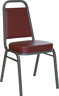 Vinyl Padded Stack Chair - Lot 100 Thickly Padded Burgundy Vinyl Banquet Stack Chairs with Silver Frame