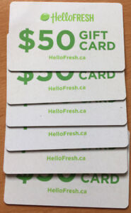 Hello Fresh gift card of 50$ value -Each for 20$- 6 cards
