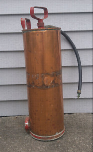 Antique vintage fire extinguisher copper
