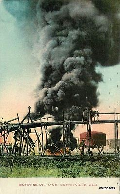 1909 Burning Oil Tank Industry Coffeyville Kansas Postcard 71