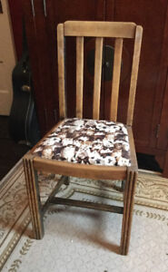 Antique wooden chair with cute cat seat cushion (A305)