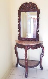 Marble console table with matching mirror Set
