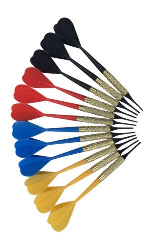12 Dart Pro Plastic Soft Tip Darts Assorted Colors Pub Bar Darts