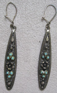"""Silver Turquoise Earrings Boucles D""""Oreilles argent Turquoise"""