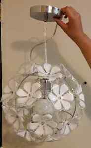 Pretty silver and flower pendant light fixture