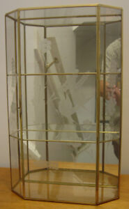 Tall Brass/Glass Table/Wall Mount Curio Cabinet