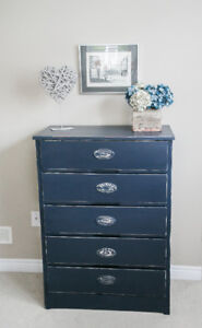 One of a kind Shabby chic navy tallboy dresser