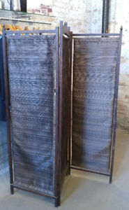 Antique Wood 3 Panel Room Divider / Dressing Screen