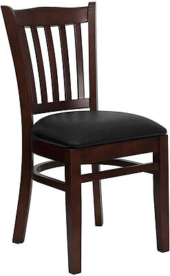 Mahogany Wood Frame Vertical Slat Back Restaurant Chair w/ Black Vinyl Seat