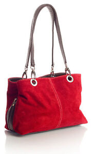 Large Italian Real Suede Leather Slouch Handbag- TWIN 2 Handle New-BEST GIFT