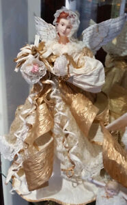 VINTAGE Gold & White PAPER MACHE Hooded ANGEL Tree Topper Doll