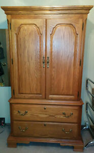 OAK ARMOIRE and NIGHT STAND