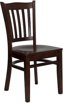 10 Mahogany Wood Frame Vertical Slat Back Restaurant Chairs Matching Wood Seat