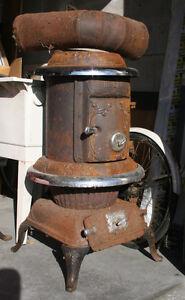 Antique Vintage 1910 PARLOUR STOVE - Cast Iron - Pot Belly Stove